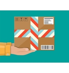Hands with postal cardboard box delivery concept vector image