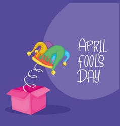 Happy april fools day card with surprise box and vector