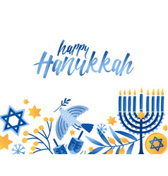 happy hanukkah greeting card template vector image