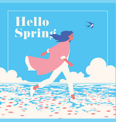 hello spring romantic banner or flyer vector image