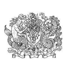 heraldic emblem with mermaid and monster fish vector image