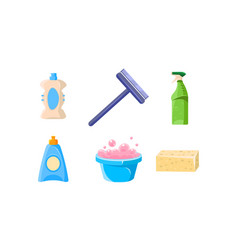Household cleaning supplies set basin sprayer vector