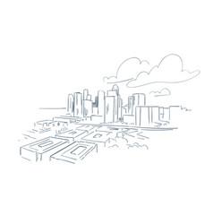 Houston texas usa america sketch city line art vector