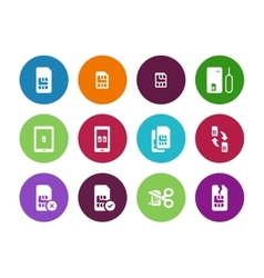Internet 3G and 4G lte SIM card circle icons on vector