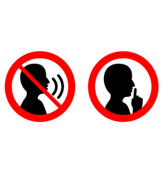 Keep quiet silent please sign crossed person vector