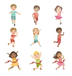 Kids In Running Competition Set vector