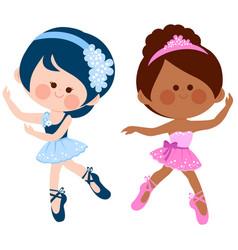Little ballerinas dancing vector
