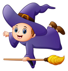 Little witch flying with broomstick vector