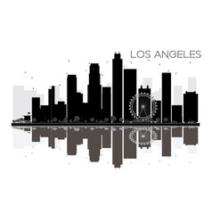 los angeles city skyline black and white vector image