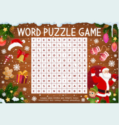 Merry christmas word puzzle crossword or riddle vector