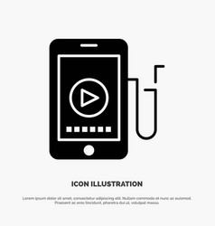 Music mobile cell education solid black glyph icon vector