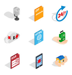 Network business icons set isometric style vector