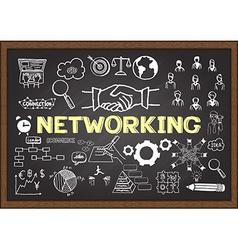Networking on chalkboard vector
