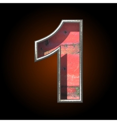 Old metal letter 1 vector