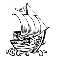 Old ship with waves vector