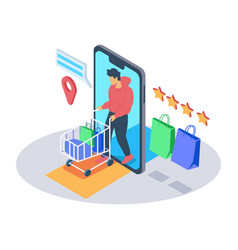 online shopping isometric conc vector image