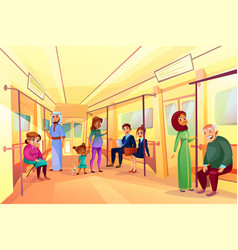 people in subway metro train vector image