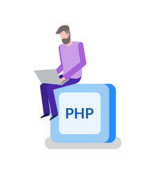 php button programming or coding man programmer vector image