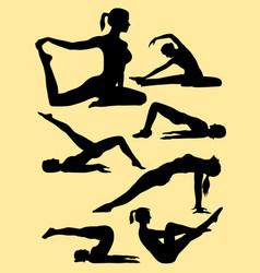 pilates training sports women silhouette vector image