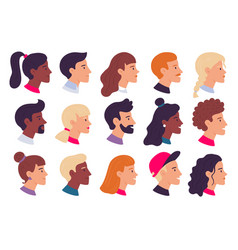 profile people portraits male and female face vector image