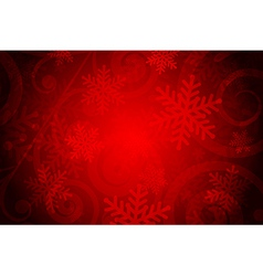 Red background with snowflakes vector