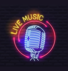 round live music neon sign with microphone over vector image