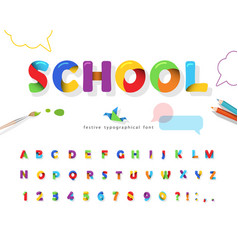 School 3d puzzle font cartoon paper cut out abc vector