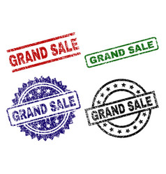 scratched textured grand sale seal stamps vector image