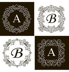 set monogram line vintage frames labels and vector image