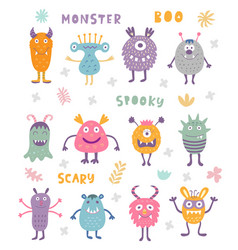 Set of cute scary halloween monsters vector