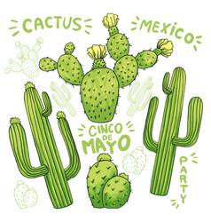 Set of edible cactus or cacti for cinco de mayo vector