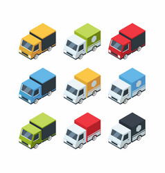 set of isometric cartoon-style cargo cars vector image