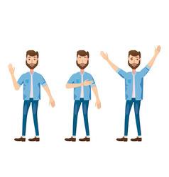 set of young bearded characters emotions joy vector image