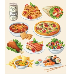 Set traditional food icons vector
