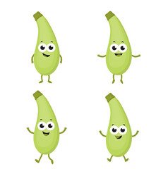 set with cartoon zucchini vector image