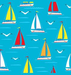 Ship sailing boat sea seamless pattern vessel vector