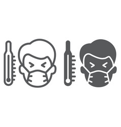 Sick man with thermometer line and glyph icon vector