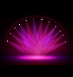 Stage lights circle projectors in dark vector