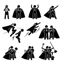 Superwoman heroine female superhero cliparts vector