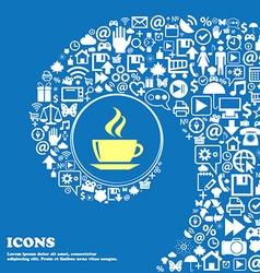 tea coffee sign symbol Nice set of beautiful icons vector image