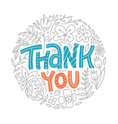 thank you hand drawn cartoon lettering with vector image