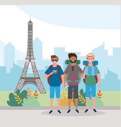 Travel men friends with backpack and eiffel tower vector