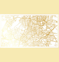 Vilnius lithuania city map in retro style in vector