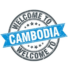 Welcome to Cambodia blue round vintage stamp vector