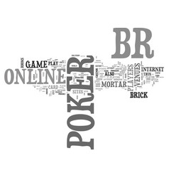 What is online poker text word cloud concept vector