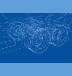 Wheel of large truck and trailers vector