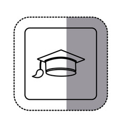 White emblem graduation hat icon vector