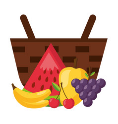 wicker basket with watermelon grapes mango banana vector image