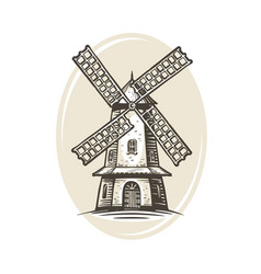 windmill logo or label farm agriculture bakery vector image