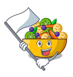 with flag dessert of fruits salad on cartoon vector image